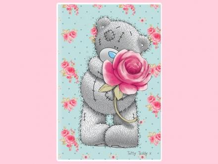 картинка Полотенце «Teddy с розой»